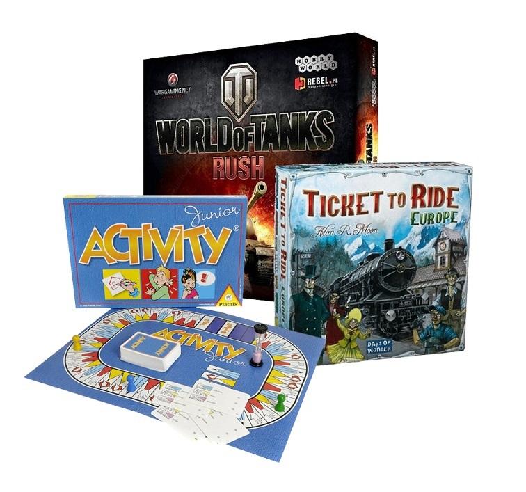 Geschenk für die Familie, Gesellschaftsspiele, Ticket To Ride - Europe, Activity Junior; World of Tanks - Rush