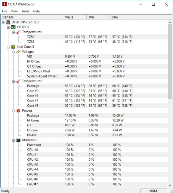 Temperatur HP Envy 15 – Software HWMonitor