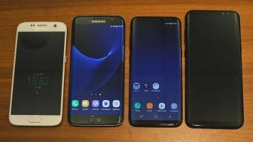 Vergleich der neuen Flaggschiffe mit der älteren Generation. Von links: Galaxy S7, S7 Edge, S8, S8 +