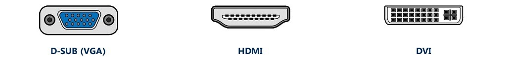 základní konektory monitoru s TV tunerem – VGA, DVI, HDMI