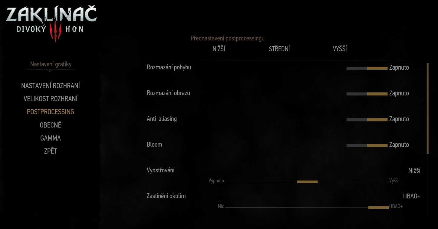 The Witcher 3: Wild Hunt nastavení postprocesing 1