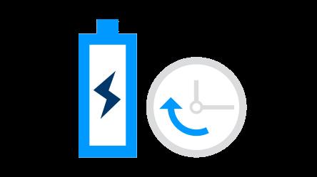 Obrázek baterie a hodin
