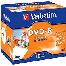 DVD-R Verbatim Printable 4,7 GB 16x speed, 10 Stm im Jewel Cases - Media