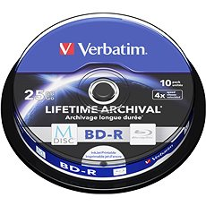 VERBATIM M-DISC BD-R SL 25 Gigabyte 4 x INKJET PRINTABLE spindle 10 Stück - Media