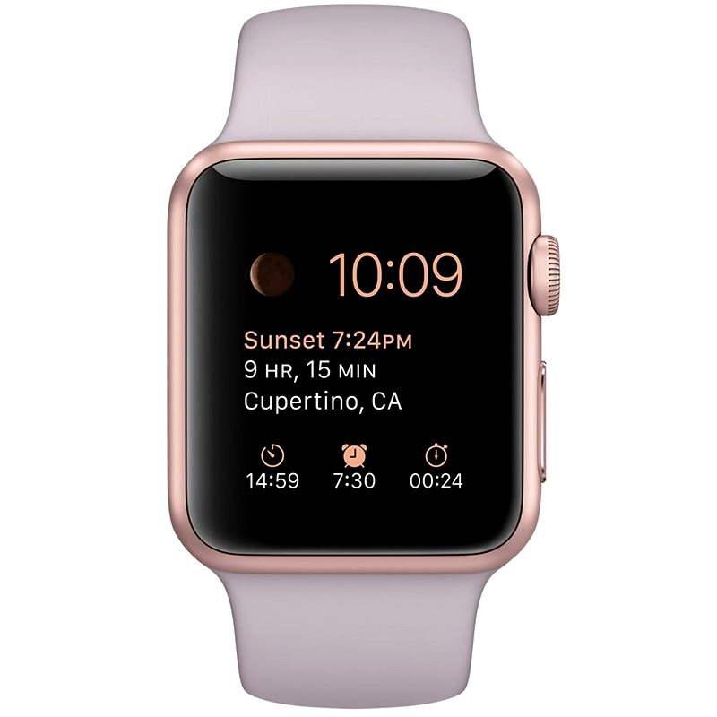 Apple Watch Sport 38 mm Rose Gold Aluminium mit Lavendel-Armband - Smartwatch