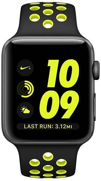 Apple Watch Nike+ Aluminiumgehäuse, SpaceGrau mit NikeSportarmband, Schwarz/Volt 38 mm - Smartwatch