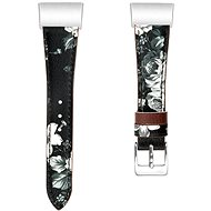 Eternico Fitbit Charge 3/4 Genuine Leather grau mit Blumenmuster (klein) - Armband