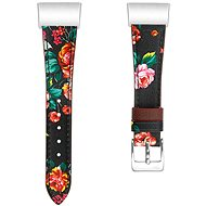 Eternico Fitbit Charge 3/4 Genuine Leather rot mit Blumenmuster (klein) - Armband