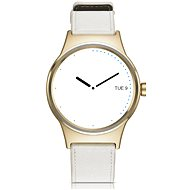 TCL MOVETIME Smart Watch Leather Gold/White - Smartwatch