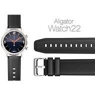 Aligator Watch Lederarmband 22 mm - schwarz - Armband