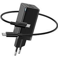 Baseus GaN Dual USB-C Quick Travel Charger 45W + Type-C (USB-C) Cable 60W 1m Black - Netzladegerät