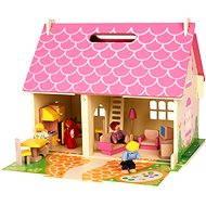 Tragbares Puppenhaus aus Holz - Zubehör für Puppen