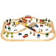 Bigjigs Holz-Eisenbahn-Set - Stadt und Dorf 101 Teile - Modelleisenbahn