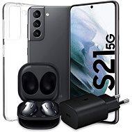 Samsung Galaxy S21 5G 128 GB grau + Samsung Galaxy Buds Live schwarz + Samsung Netzteil 25W schwarz - Set