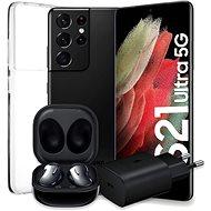 Samsung Galaxy S21 Ultra 5G 128 GB schwarz + Samsung Galaxy Buds Live schwarz + Samsung Netzteil - Set