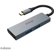USB Hub AKASA USB Type-C 4-in-1 Hub - 2 x USB3.0 Type A + PD Type C s HDMI / AK-CBCA19-18BK