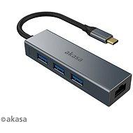 AKASA USB Typ C 4-in-1 Hub - 3 x USB 3.0 Typ A mit Ethernet / AK-CBCA20-18BK