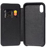 Entschlüsselte Leder Slim Wallet Schwarz iPhone XS Max - Silikon-Schutzhülle