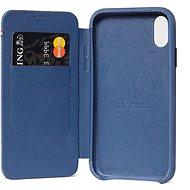 Entschlüsselte Leder Slim Wallet Blau iPhone XS Max - Silikon-Schutzhülle