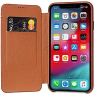 Decodiertes Leder Slim Wallet Braun iPhone XS / X - Silikon-Schutzhülle