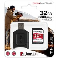 Kingston Canvas React Plus 32 GB SDHC + SD-Kartenadapter und Kartenleser - Speicherkarte
