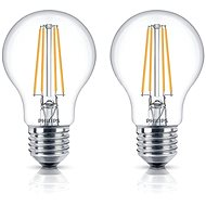 Philips LED Glühbirne LEDClassic Retro 6-60W, E27, 2700K, klar, 2er-Set - LED-Lampen