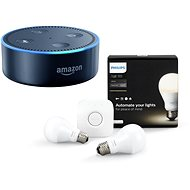 Philips Hue White 8.5W E27 starter kit + Amazon Echo Dot schwarz (2. Generation) - LED-Lampen