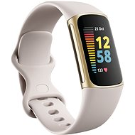 Fitbit Charge 5 Lunar White/Soft Gold Stainless Steel - Fitness-Armband