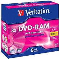 VERBATIM DVD-RAM 4,7 GB, 3x, Jewel Case 5 Stück - Media