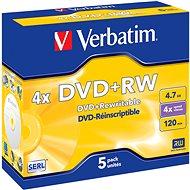 DVD+RW Verbatim 4,7 GB, 4x Schreibgeschwindigkeit, 5er Pack im Jewel Cases - Media
