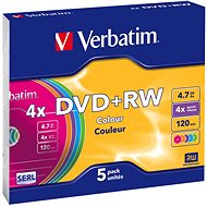 Verbatim DVD+RW 4x, FÄRBIG 5 Stk in SLIM-Box - Media