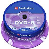 DVD+R Verbatim 4,7 GB 16x Geschwindigkeit, Packung mit 25 Stück Cakebox - Media