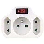 EMOS Steckdose 2 × flach + 1 × rund mit Schalter, weiss