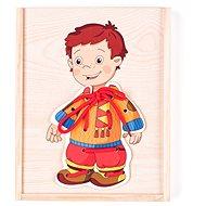 Woody Spielzeug Kleiderschrank zum Schnüren - Kleiner Junge - Didaktisches Spielzeug