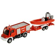 Metall-Modell Siku Blister - Unimog Feuerwehrfahrzeug mit Boot - Metall-Model