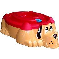 Sandkasten - Planschbecken Hund orange mit roter Abdeckung - Sandkasten