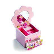 Schmuckschatulle mit Spieluhr - rosa mit Blumenmotiv - Spielset