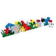 Dřevěné hračky - Zvířata s písmeny a číslicemi - Spielset