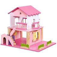 Dřevěný domeček pro panenky - růžový - Zubehör für Puppen