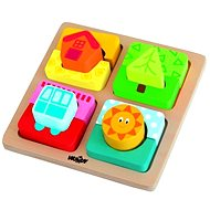 """Woody Plate mit Puzzle-Formen """"The Sun of Home"""" - Didaktisches Spielzeug"""
