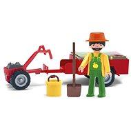 Spielset Spielzeugmännchen IGRÁČEK - Motiv: Gärtner mit Traktor und Zubehör - Spielset