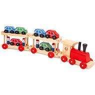 Holzeisenbahn mit Wagon für Autos - Eisenbahn