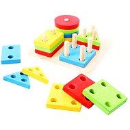 Motorisches Holzspielzeug - Formen auf Stöcke setzen - Didaktisches Spielzeug