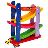 Didaktisches Spielzeug Holzrennbahn mit 4 Autos - Didaktická hračka