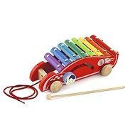 Holz-Xylophon zum Nachziehen - Auto - Nachziehspielzeug