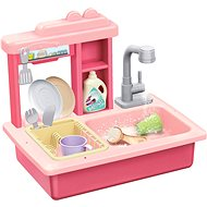 Teddies Dish Waschbecken rosa + Wasserhahn mit Zubehör - Kinderküche