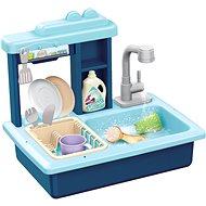 Teddies Waschbecken blau + Wasserhahn mit Zubehör - Kinderküche
