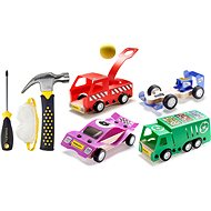 Stanley Jr. U001-K04-T03-SY Set mit 4 Spielzeugautos, Schraubendreher und Hammer. - Kinderwerkzeug