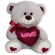 Teddybär mit Herz Love - 30 cm - grau - Teddybär