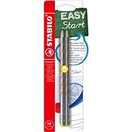 STABILO EASYgraph S Metallic Edition L HB Bleistift Silber - 2 Stück im Blister - Grafitstift